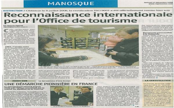 ISO 9001 - L'Office de Tourisme de Manosque certifié